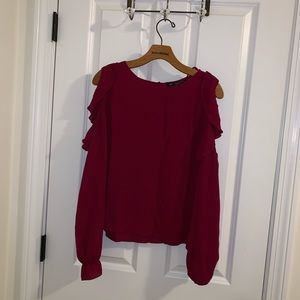 Plum colored blouse with cut out shoulders